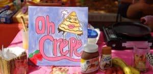Fresh crepe sign on market.