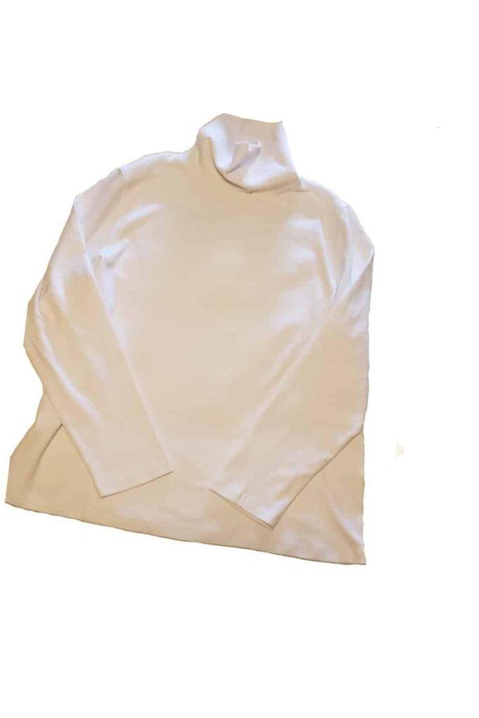 White turtle neck shirt