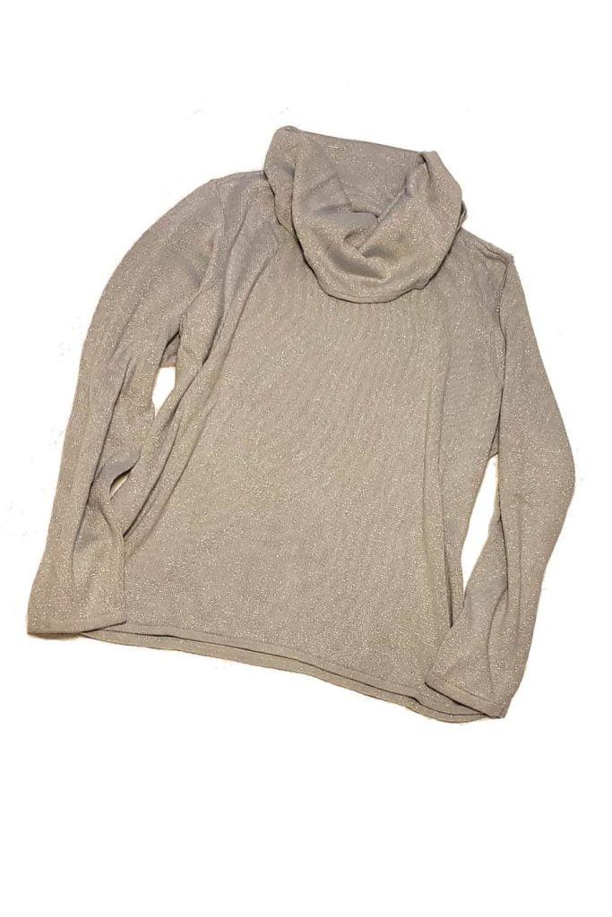 Silver sparkle turtleneck sweater.