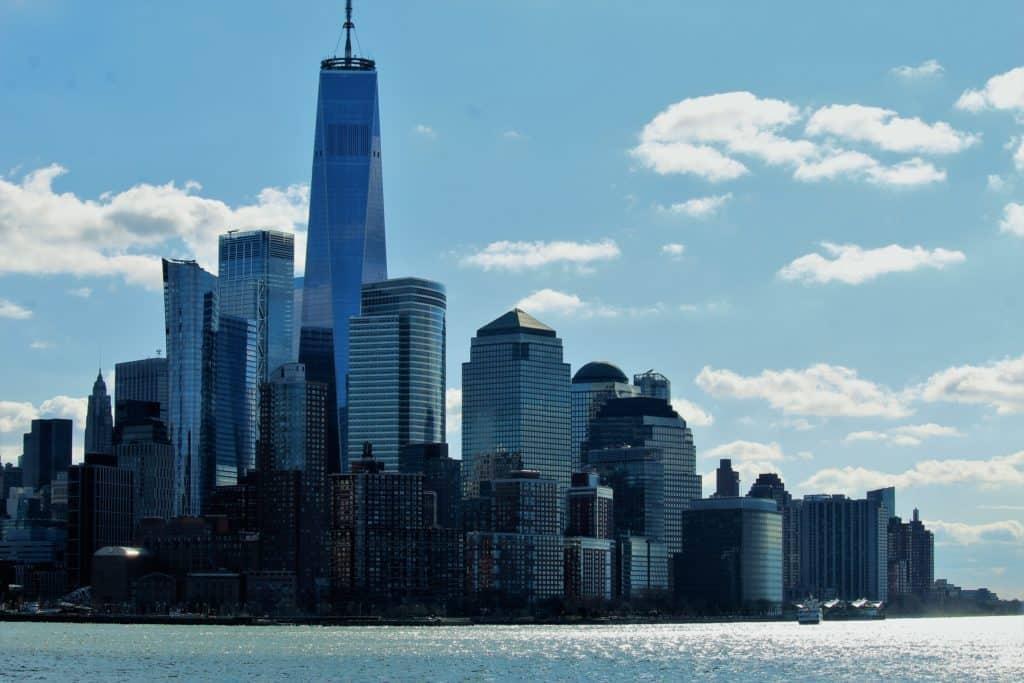 View of Lower Manhattan from New York Harbor